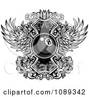 Clipart Black And White Billiards Eight Ball And Ornate Wings Royalty Free Vector Illustration by Chromaco
