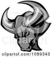 Clipart Red Eyed Gray Bull Mascot Royalty Free Vector Illustration