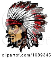 Clipart Native American Chief And Feathered Headdress Royalty Free Vector Illustration by Chromaco #COLLC1089345-0173