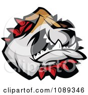 Clipart Bulldog Mascot Face Attacking Royalty Free Vector Illustration by Chromaco