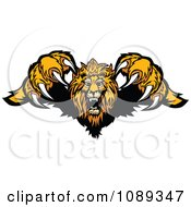 Clipart Attacking Lion Jumping Forward With Sharp Claws Royalty Free Vector Illustration