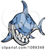 Clipart Bad Blue Shark Mascot Royalty Free Vector Illustration