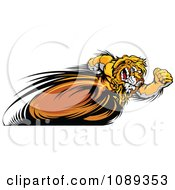 Clipart Fast Lion Mascot Running Upright Royalty Free Vector Illustration