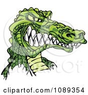 Clipart Aggressive Alligator Mascot Face Royalty Free Vector Illustration by Chromaco