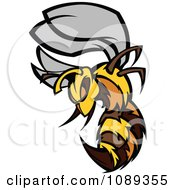 Clipart Stinging Bee Mascot Royalty Free Vector Illustration