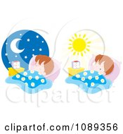 Clipart Boy Sleeping At Night And Waking In The Morning Royalty Free Vector Illustration by Alex Bannykh