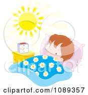 Clipart Boy Waking In The Morning Royalty Free Vector Illustration by Alex Bannykh