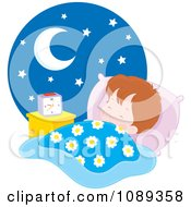 Clipart Boy Sleeping At Night Royalty Free Vector Illustration