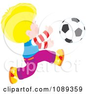 Clipart Blond Boy Chasing A Soccer Ball Royalty Free Vector Illustration by Alex Bannykh