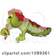 Clipart Worm Using A Colored Pencil Royalty Free Vector Illustration by dero