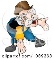 Clipart Happy Grandpa Bending Oer And Holoding His Arms Open Royalty Free Vector Illustration by dero