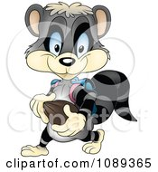 Clipart Student Raccoon Walking Royalty Free Vector Illustration by dero