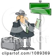 Clipart Lost Man Holding Directions Under Street Signs Royalty Free Vector Illustration by djart