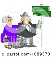 Clipart Lost Couple Holding Directions Under Street Signs Royalty Free Vector Illustration by djart