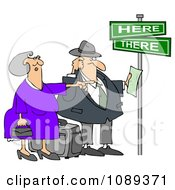 Clipart Lost Tourist Couple Holding Directions Under Street Signs Royalty Free Illustration by djart