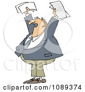 Clipart Business Man Holding Up Documents And Shouting Royalty Free Vector Illustration by djart