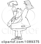 Clipart Outlined Business Man Holding Up Documents And Shouting Royalty Free Vector Illustration by djart