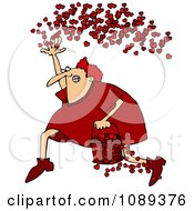 Clipart Cupid Running With A Bucket Of Hearts And Tossing Them In The Air Royalty Free Vector Illustration by djart