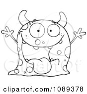 Clipart Excited Outlined Speckled Monster Holding Up Its Arms Royalty Free Vector Illustration