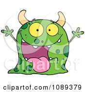 Clipart Excited Green Speckled Monster Holding Up Its Arms Royalty Free Vector Illustration