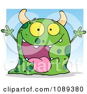 Excited Green Spotted Monster Over A Blue Square