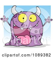 Clipart Excited Purple Spotted Monster Over A Blue Square Royalty Free Vector Illustration
