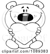 Clipart Outlined Teddy Bear Holding A Valentine Heart Royalty Free Vector Illustration
