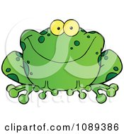 Clipart Speckled Green Frog Smiling Royalty Free Vector Illustration by Hit Toon