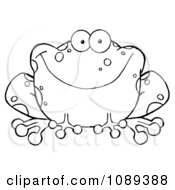 Clipart Outlined Speckled Toad Smiling Royalty Free Vector Illustration