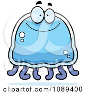 Clipart Happy Blue Jellyfish Royalty Free Vector Illustration by Cory Thoman