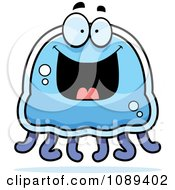 Clipart Grinning Blue Jellyfish Royalty Free Vector Illustration by Cory Thoman