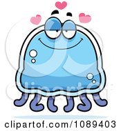 Clipart Infatuated Blue Jellyfish Royalty Free Vector Illustration by Cory Thoman