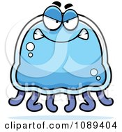 Clipart Mad Blue Jellyfish Royalty Free Vector Illustration by Cory Thoman
