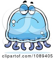 Clipart Sad Blue Jellyfish Royalty Free Vector Illustration by Cory Thoman