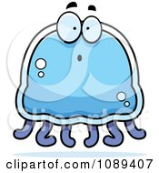 Clipart Surprised Blue Jellyfish Royalty Free Vector Illustration by Cory Thoman