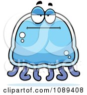 Clipart Bored Blue Jellyfish Royalty Free Vector Illustration by Cory Thoman