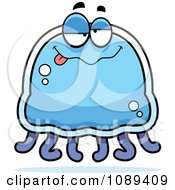 Clipart Drunk Blue Jellyfish Royalty Free Vector Illustration by Cory Thoman