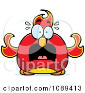 Clipart Chubby Scared Phoenix Fire Bird Royalty Free Vector Illustration