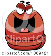 Clipart Chubby Evil Orange Worm Royalty Free Vector Illustration by Cory Thoman