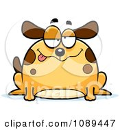 Clipart Chubby Drunk Dog Royalty Free Vector Illustration