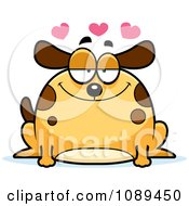 Clipart Chubby Infatuated Dog Royalty Free Vector Illustration
