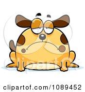 Clipart Chubby Sad Dog Royalty Free Vector Illustration