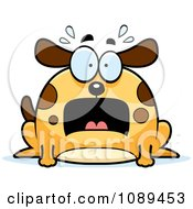 Clipart Chubby Scared Dog Royalty Free Vector Illustration