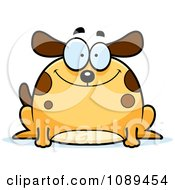 Clipart Chubby Happy Dog Royalty Free Vector Illustration