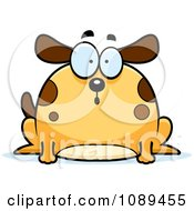 Clipart Chubby Surprised Dog Royalty Free Vector Illustration