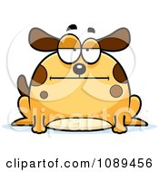 Clipart Chubby Bored Dog Royalty Free Vector Illustration