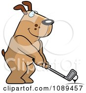 Clipart Golfing Dog Holding The Club Against The Ball On The Tee Royalty Free Vector Illustration by Cory Thoman