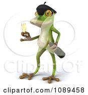 Clipart 3d French Springer Frog Standing With A Champagne Glass And Bottle Royalty Free Vector Illustration