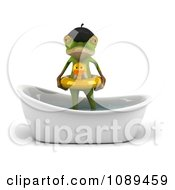 3d French Springer Frog Standing In A Bath Tub And Wearing A Duck Inner Tube