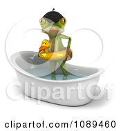 3d French Springer Frog Standing In A Bath Tub And Wearing A Ducky Inner Tube